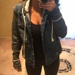 Jackets & Blazers - Jean jacket with sweatshirt arms and hoodie